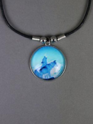 Wolfcenter, Onlineshop, Accessoires, Ketten, Medallion, Polarwölfe, blau
