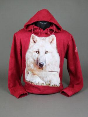 Wolfcenter, Onlineshop,Bekleidung, Hoodies, Wolf. rot