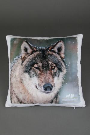 Wolfcenter, Onlineshop, Souvenirs, Kissen, Grauwolf, zwinkernd