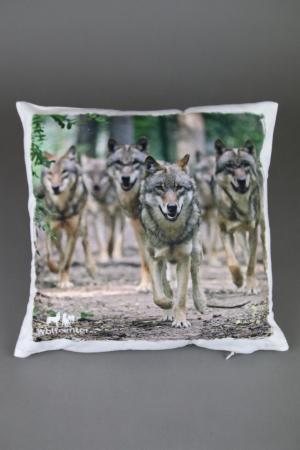 Wolfcenter, Onlineshop, Souvenirs, Kissen, laufende Wölfe, Rudel