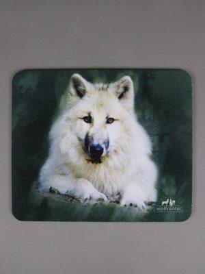 Wolfcenter, Onlineshop, Accessoires, Mousepads, Wolf, weißer Wolf, grau/grün