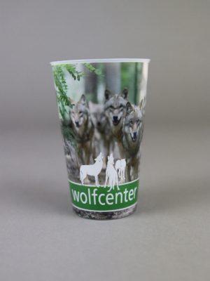 Wolfcenter, Onlineshop, Souvenirs, Tassen & Becher, Becher, laufende Wölfe, Rudel