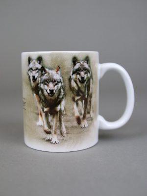 Wolfcenter, Onlineshop, Souvenirs, Tassen & Becher, laufende Wölfe, weiß