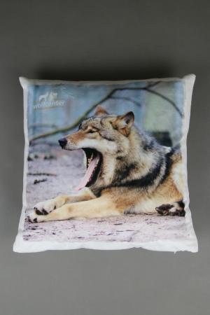 Wolfcenter, Onlineshop, Kissen, gähnender Wolf